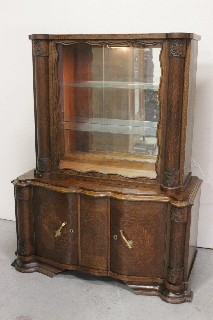 Victorian tiger oak display shelf on cabinet