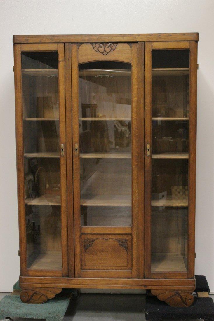 Art nouveau oak display case