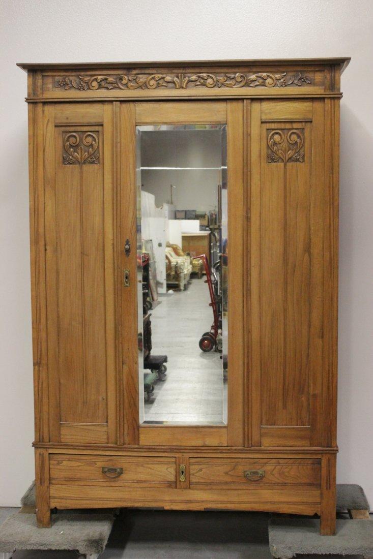 Art nouveau walnut armoire