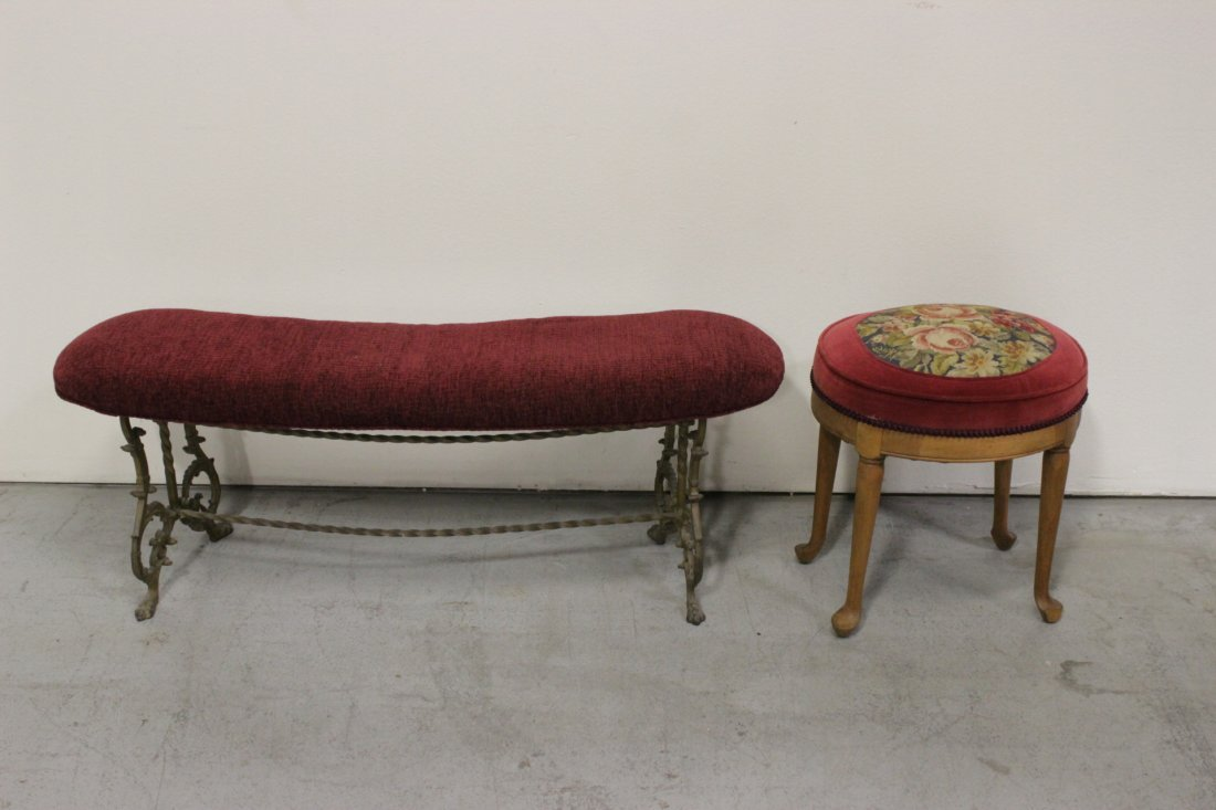 Cast iron based bench, and a needle point stool