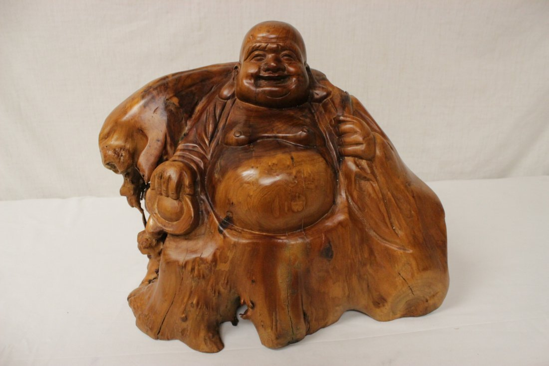 A fine Chinese root wood carved Buddha