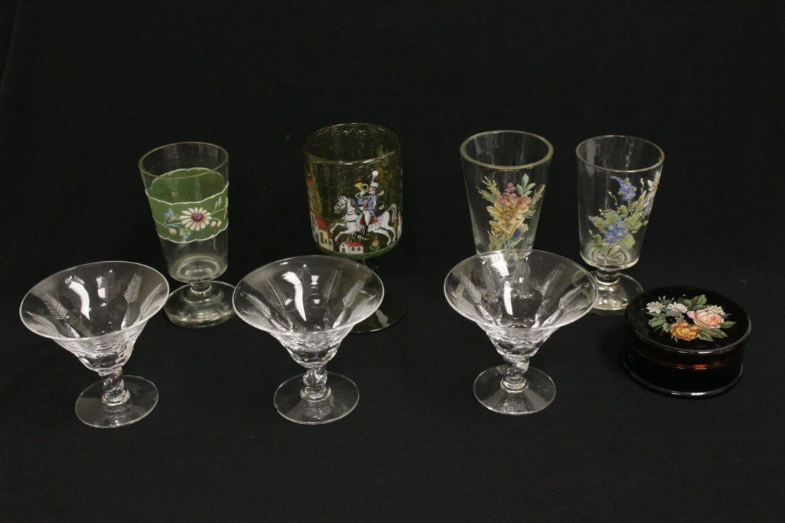 3 crystal goblet by Libbey & 4 enamel on glass pieces