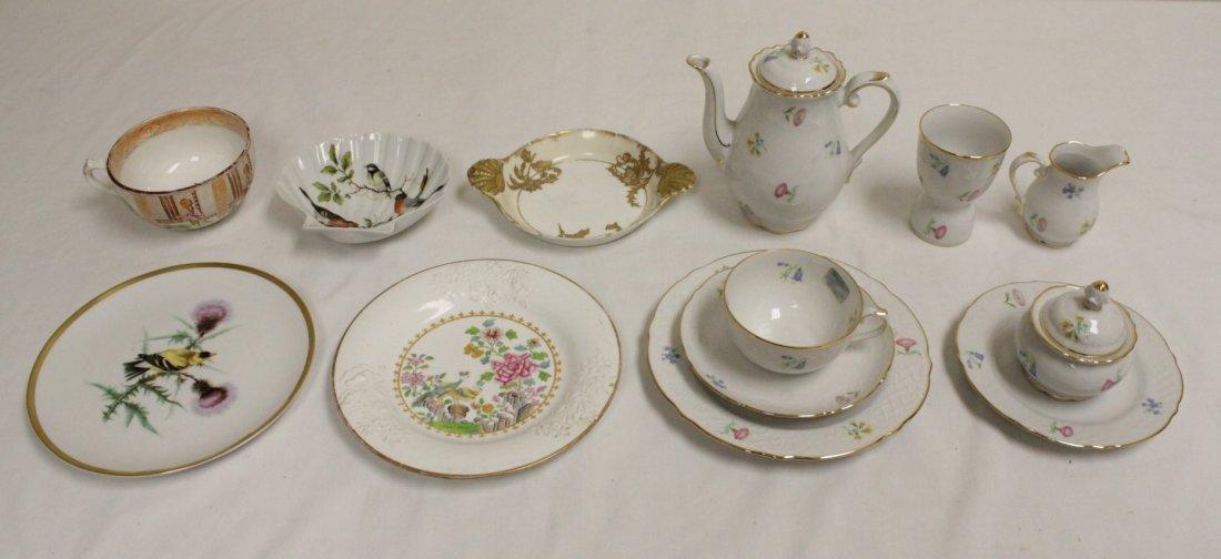 Partial tea set by Schumann & 5pc antique porcelain