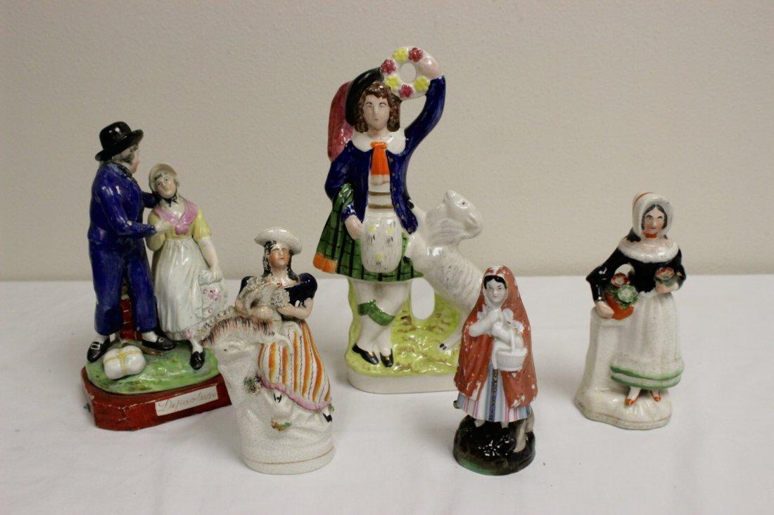5pc antique Staffordshire porcelain figurine