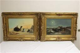 Pair oil on canvas painting, signed