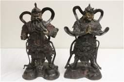 Important pair Chinese antique gilt bronze sculpture