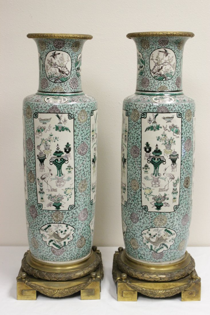 Pr Chinese 18th/19th c. porcelain vases w/ bronze stand