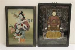 2 Chinese rosewood framed reverse painted panels