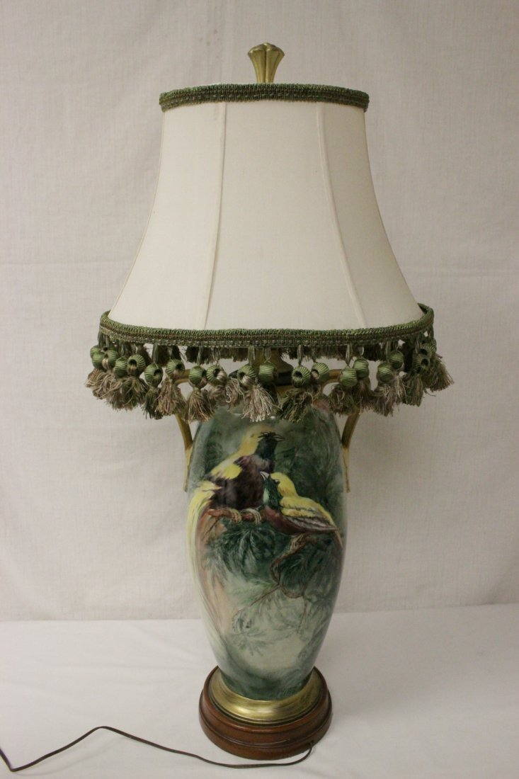 lg signed hand painted porcelain vase made as lamp