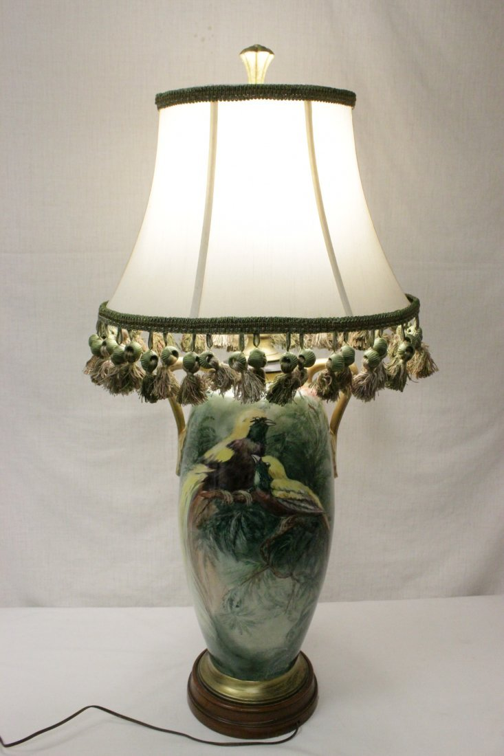 lg signed hand painted porcelain vase made as lamp - 2