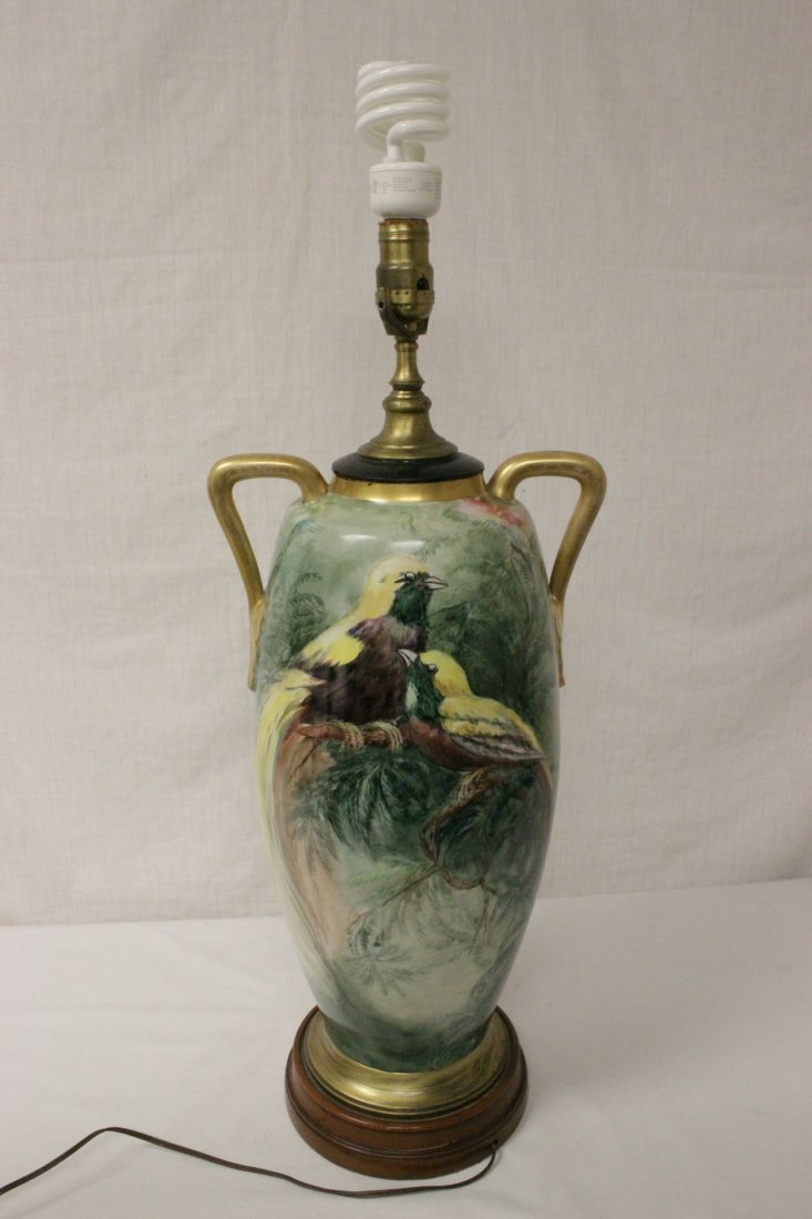 lg signed hand painted porcelain vase made as lamp - 3
