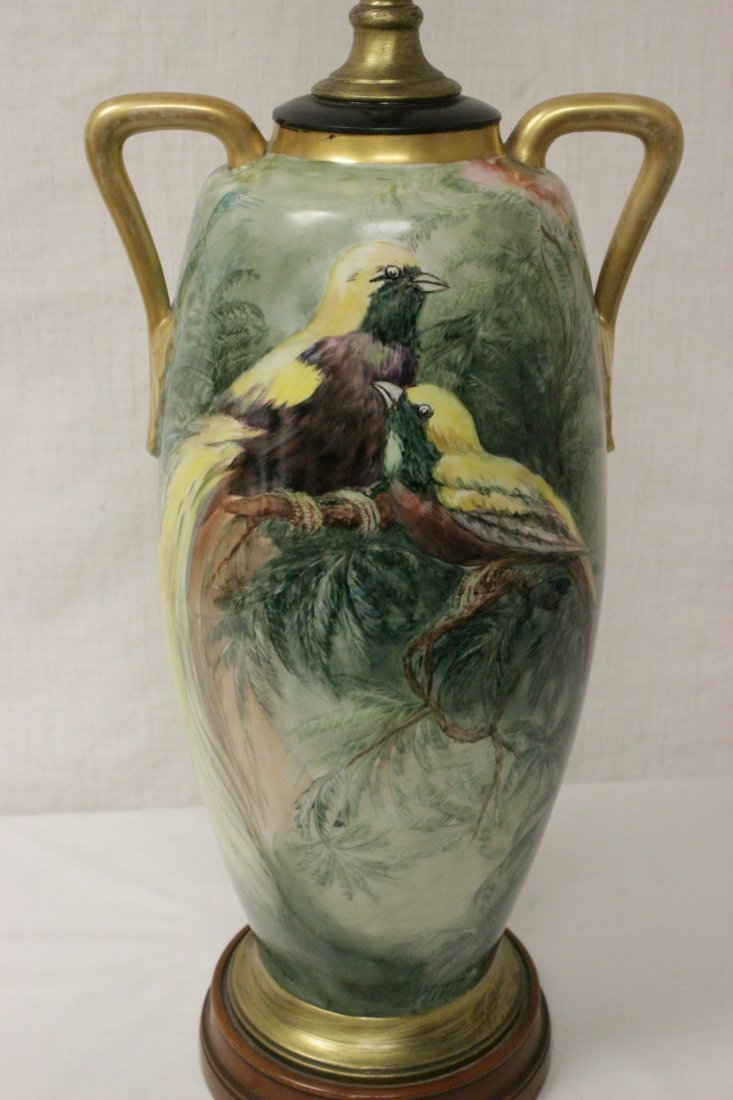 lg signed hand painted porcelain vase made as lamp - 4