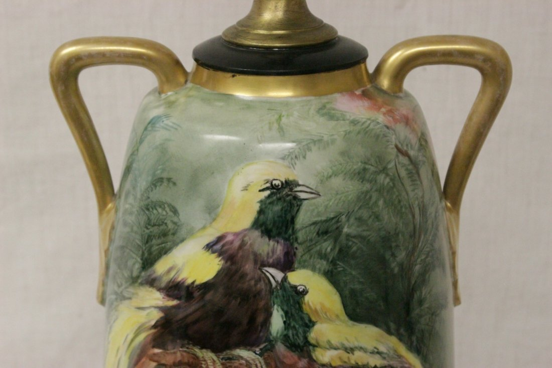 lg signed hand painted porcelain vase made as lamp - 5