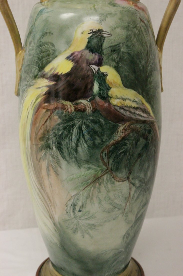 lg signed hand painted porcelain vase made as lamp - 6