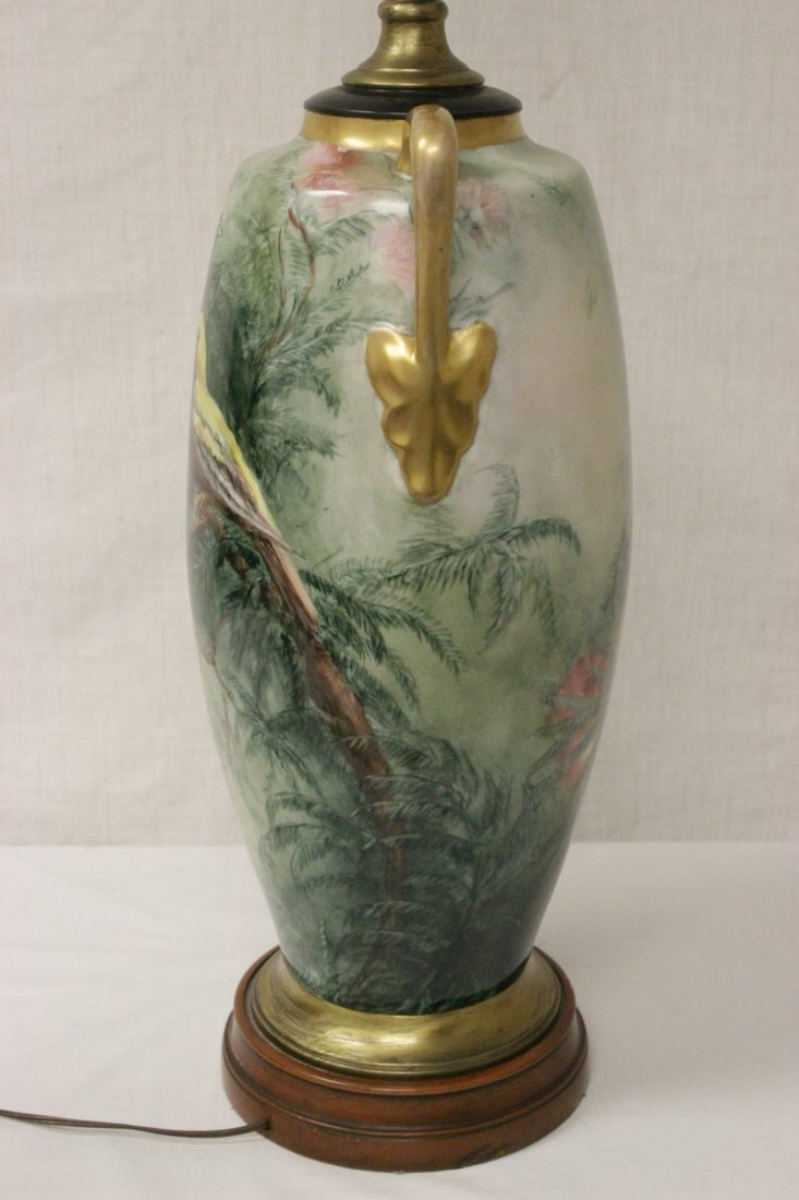 lg signed hand painted porcelain vase made as lamp - 7