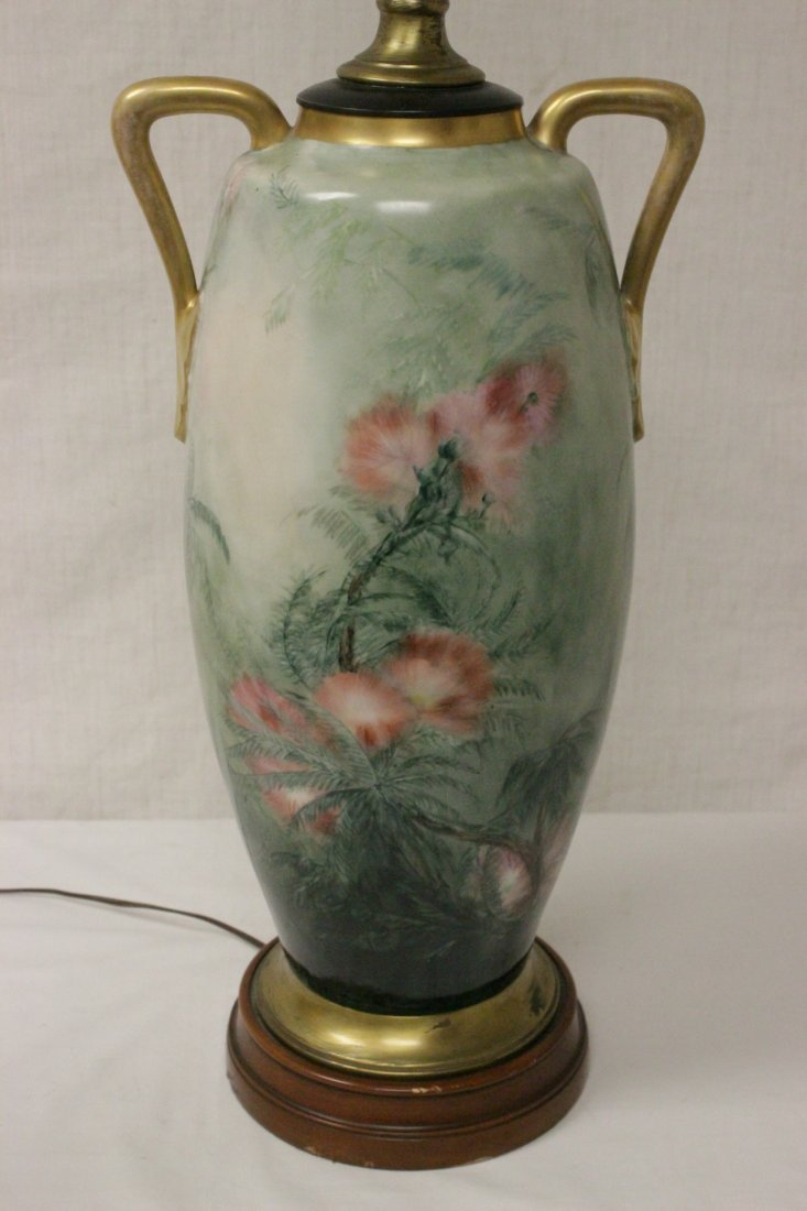 lg signed hand painted porcelain vase made as lamp - 8