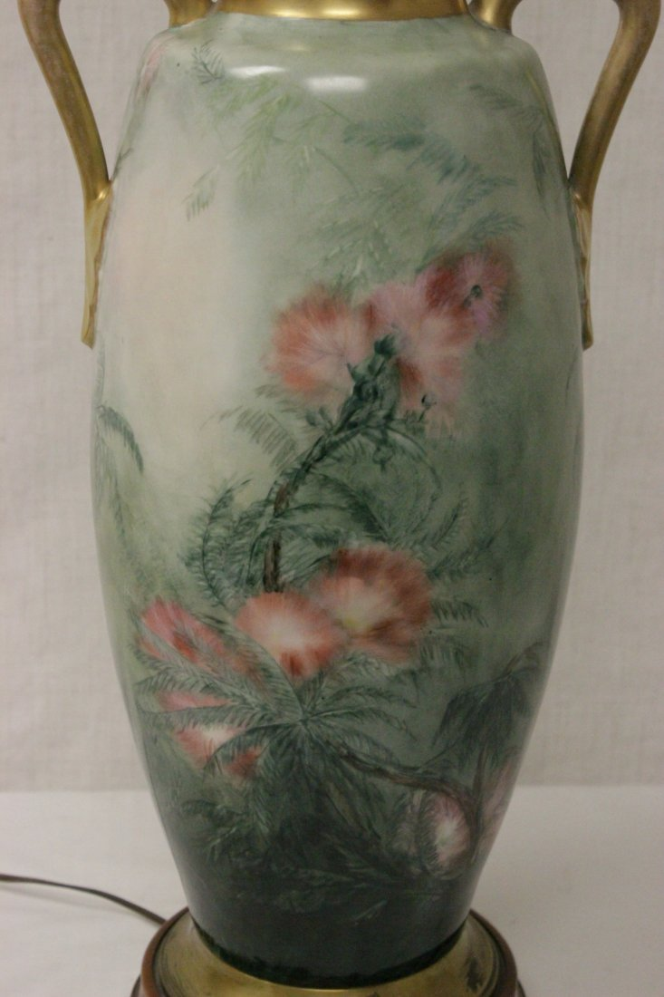lg signed hand painted porcelain vase made as lamp - 9