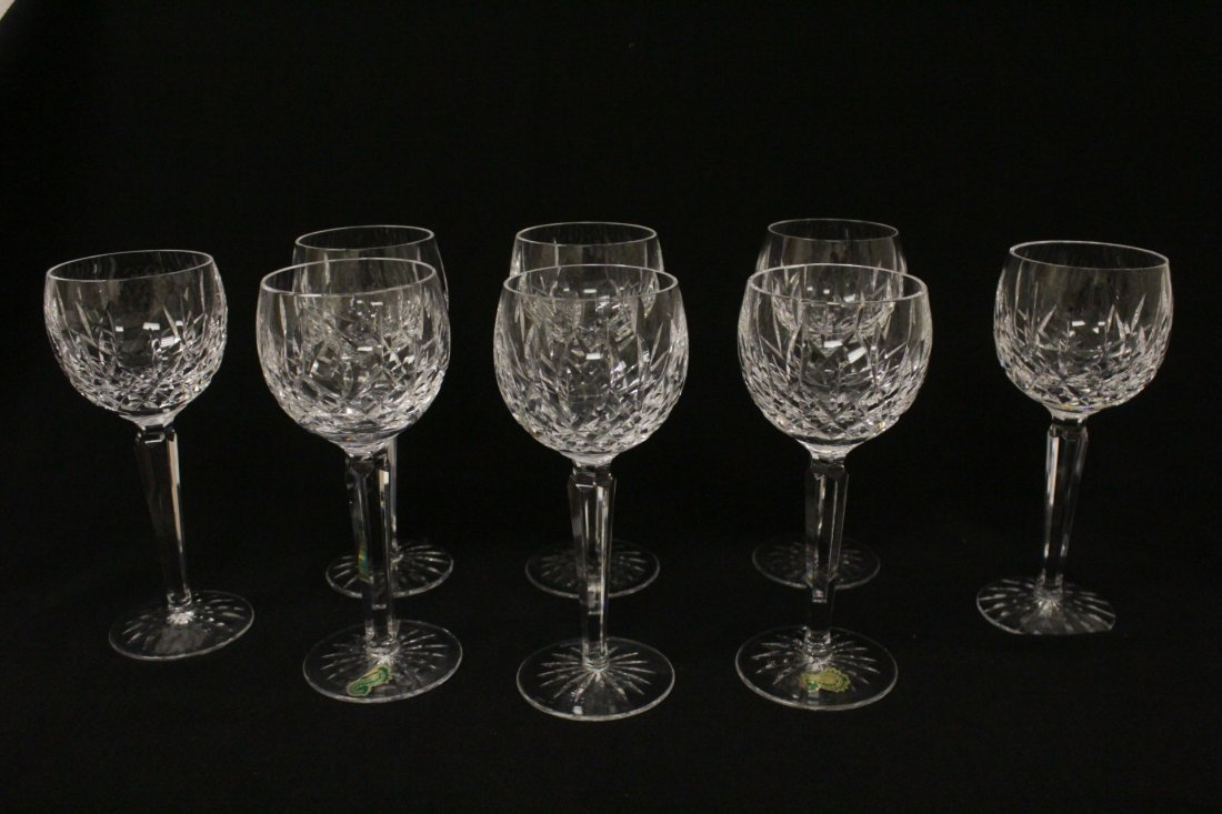 8 high stem crystal red wine glasses by Waterford