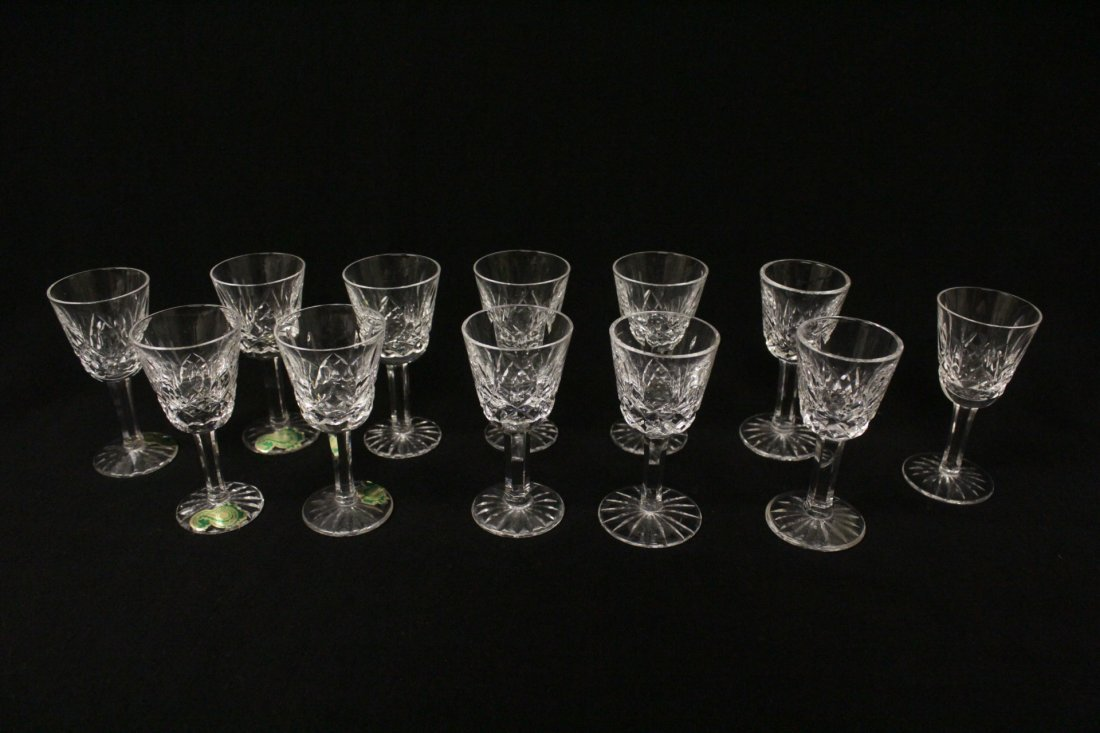 12 crystal cordial wine glasses by Waterford