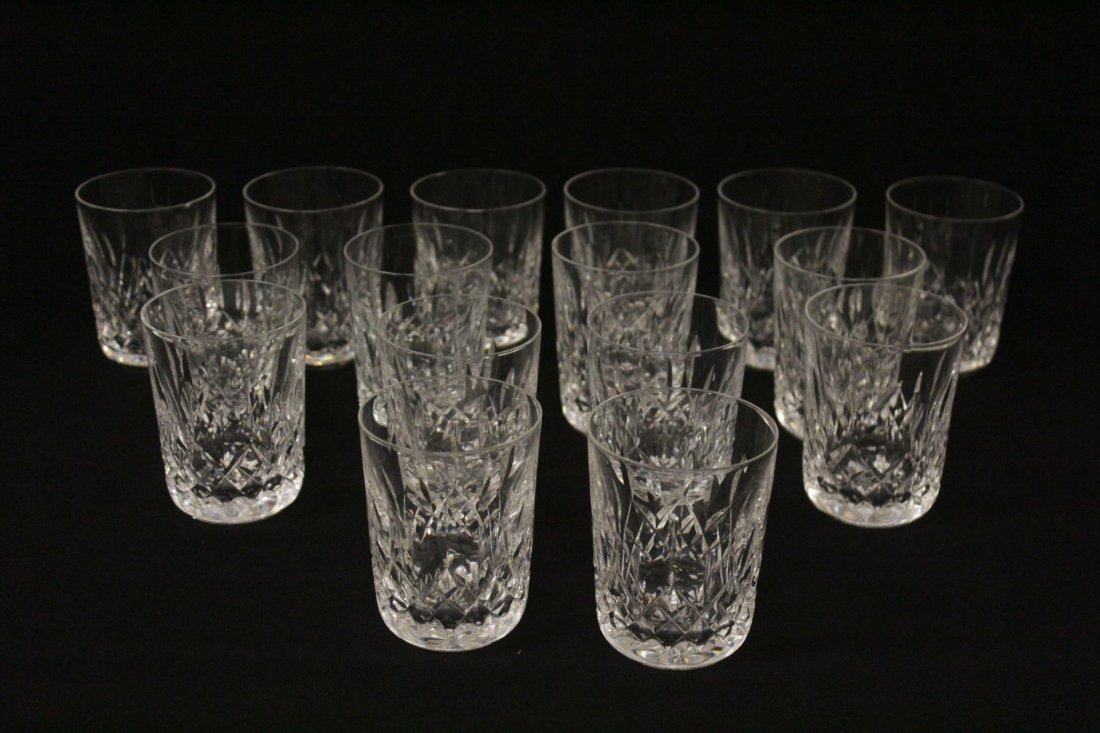 16 crystal water glasses by Waterford