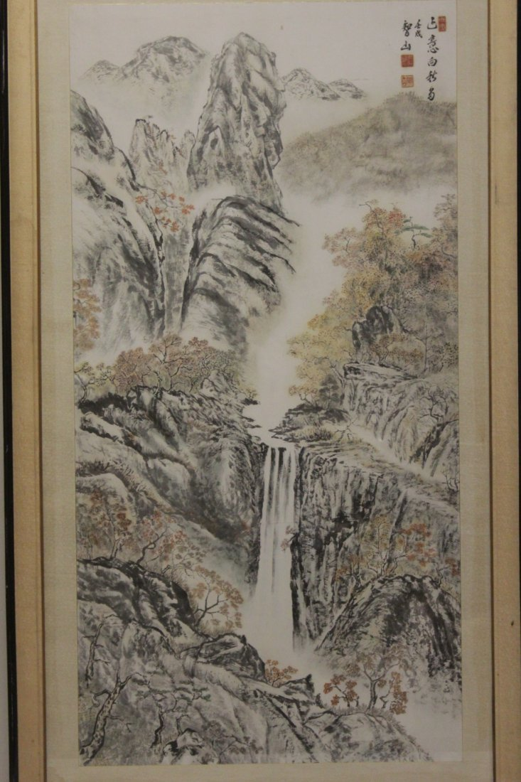 "Framed watercolor ""mountain scene"""