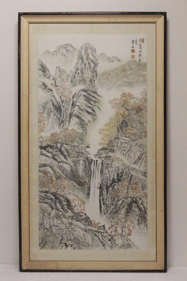 "Framed watercolor ""mountain scene"" - 2"