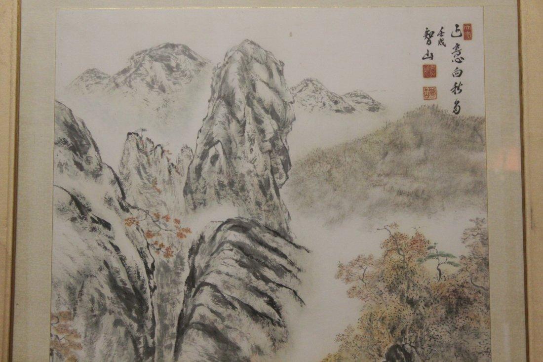 "Framed watercolor ""mountain scene"" - 4"