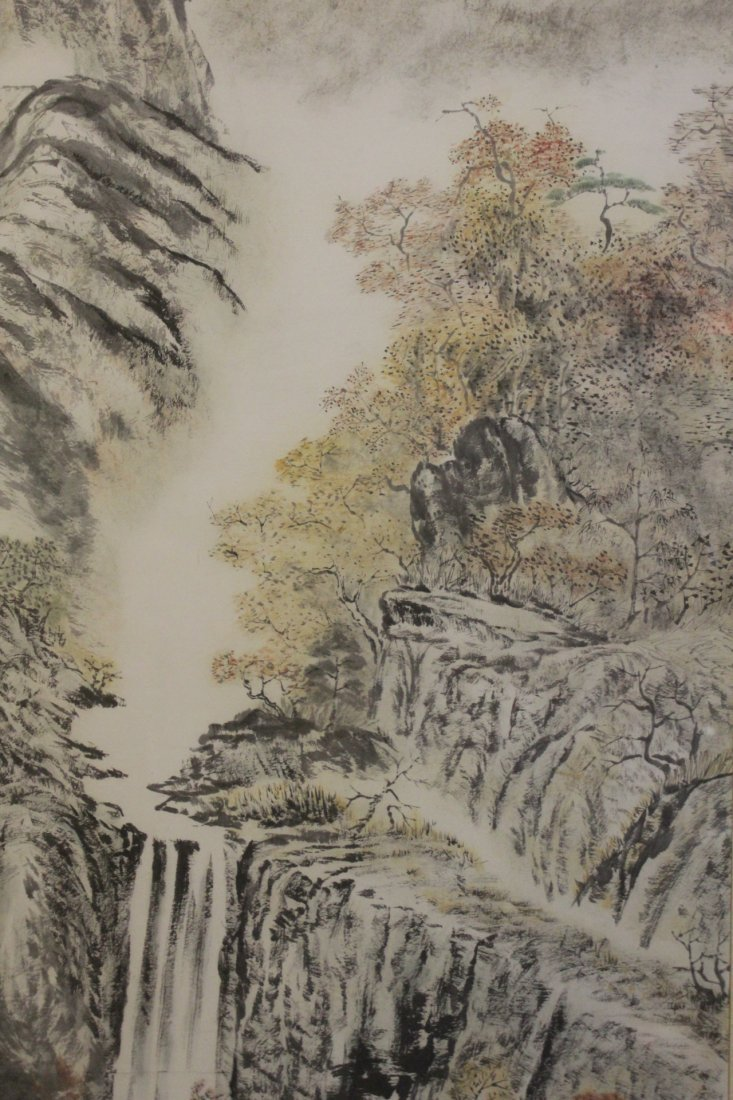 "Framed watercolor ""mountain scene"" - 9"