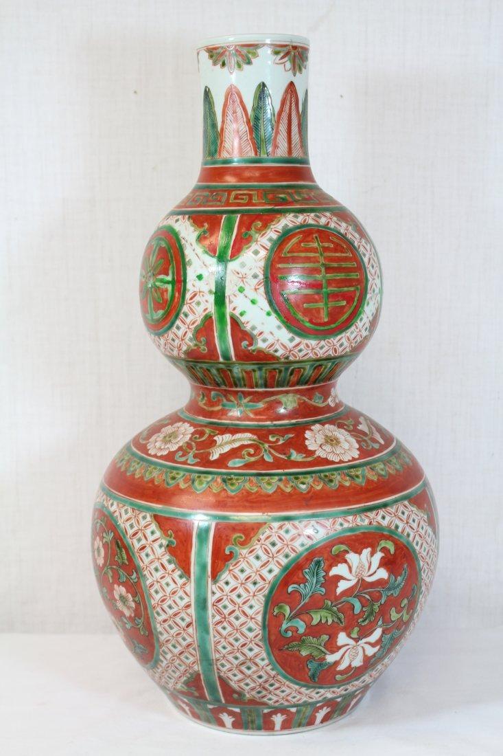 Wucai gourd shape porcelain vase - 3