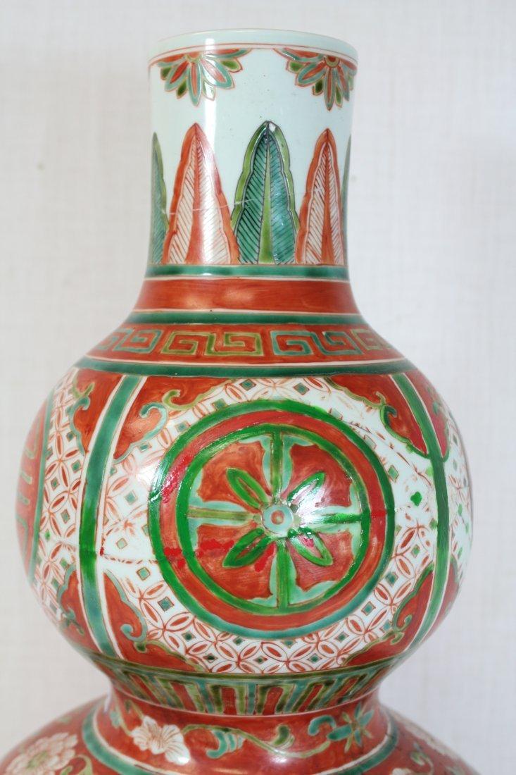 Wucai gourd shape porcelain vase - 7