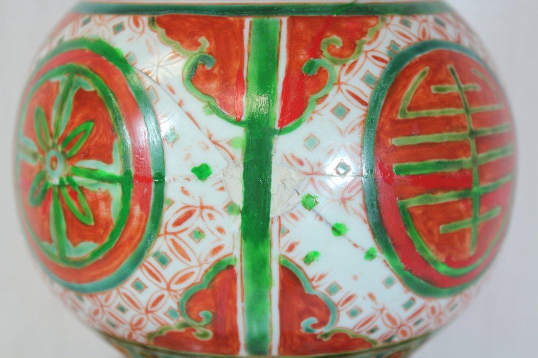 Wucai gourd shape porcelain vase - 9