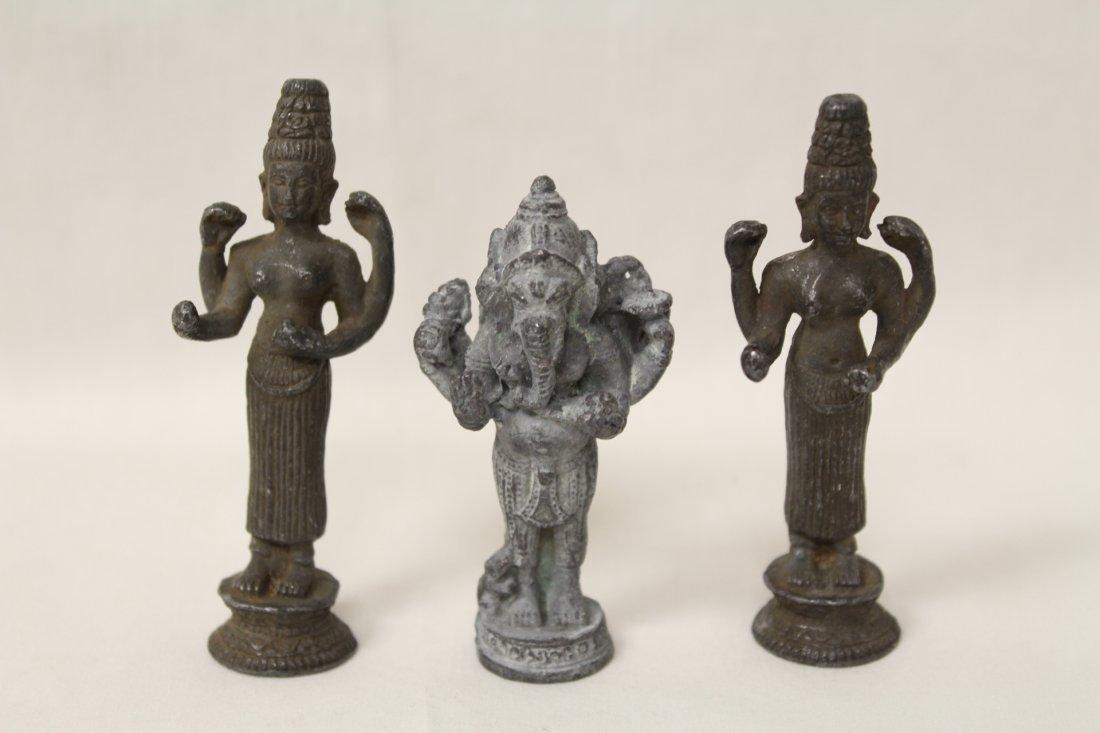 3 antique India bronze sculpture of deity