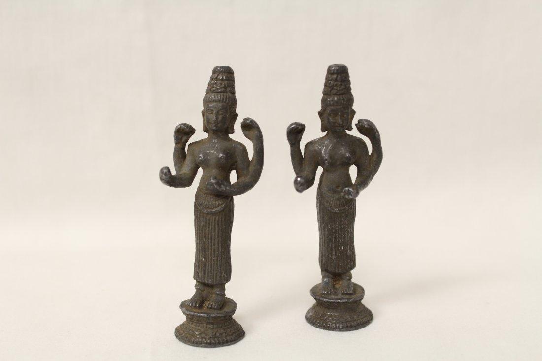 3 antique India bronze sculpture of deity - 2