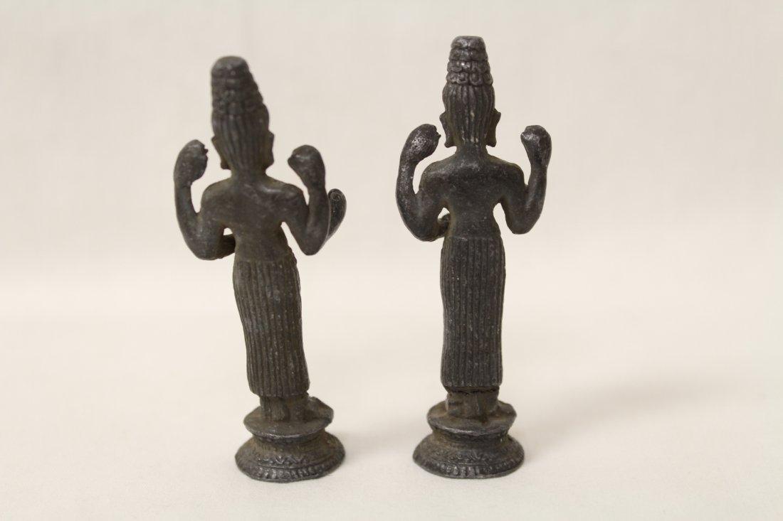 3 antique India bronze sculpture of deity - 4