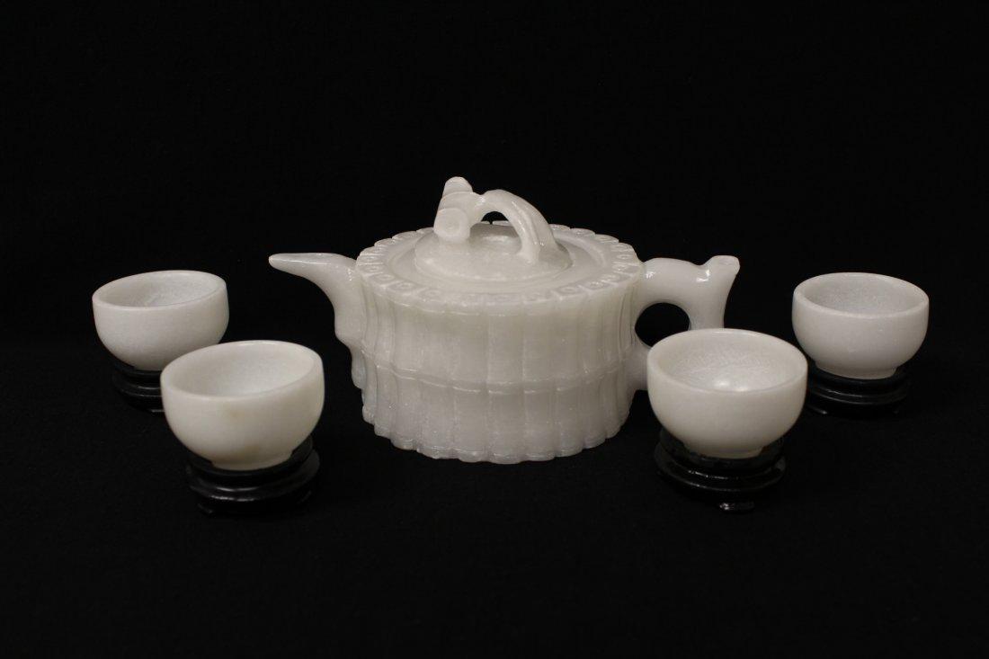 5 pieces white Peking glass tea set