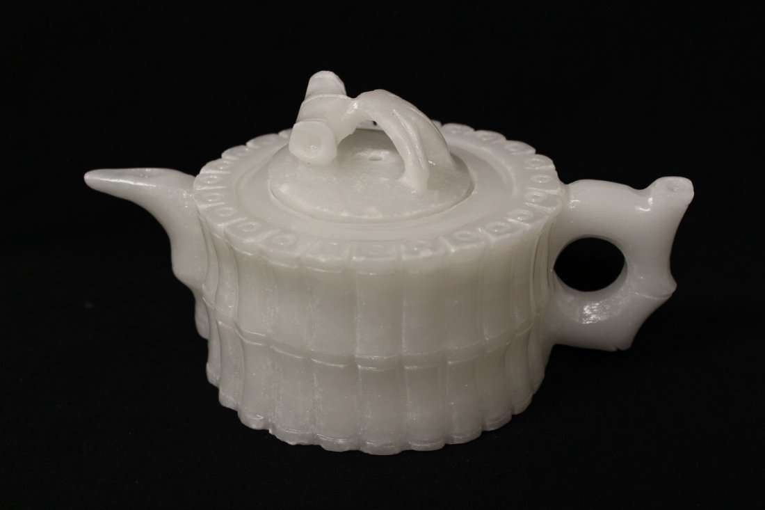 5 pieces white Peking glass tea set - 2