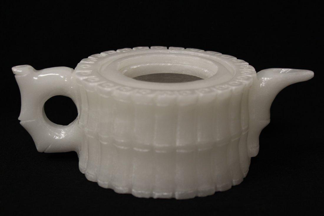 5 pieces white Peking glass tea set - 4