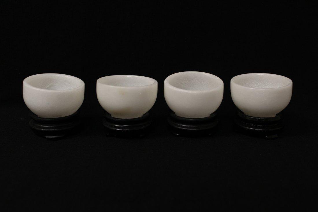 5 pieces white Peking glass tea set - 6