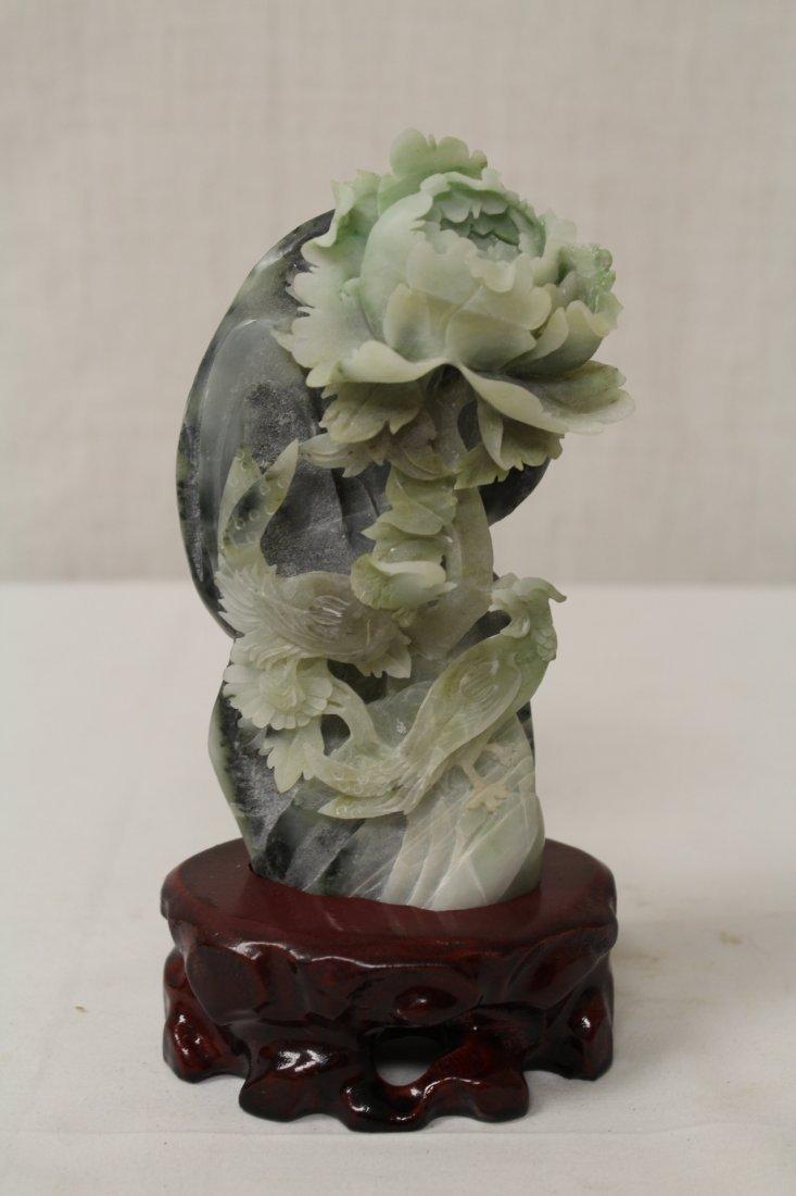 Amethyst Guanyin & Hunan jade carved boulder - 6