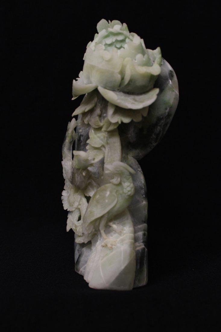 Amethyst Guanyin & Hunan jade carved boulder - 7