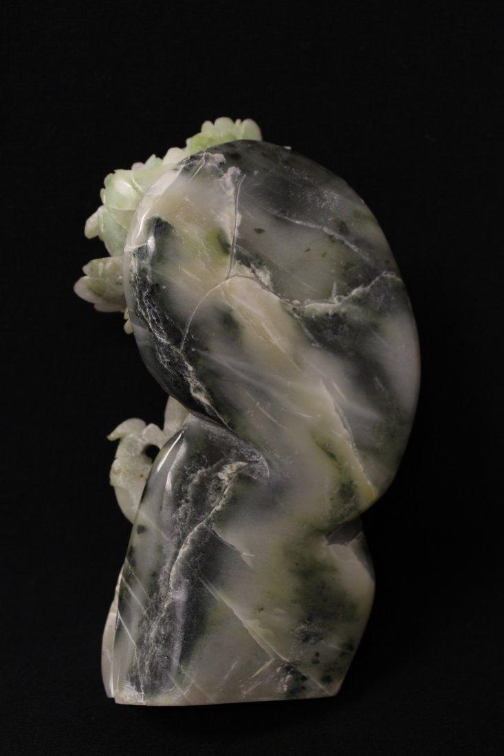 Amethyst Guanyin & Hunan jade carved boulder - 8