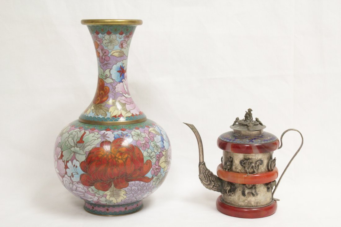 Cloisonne vase and a silver like wine server
