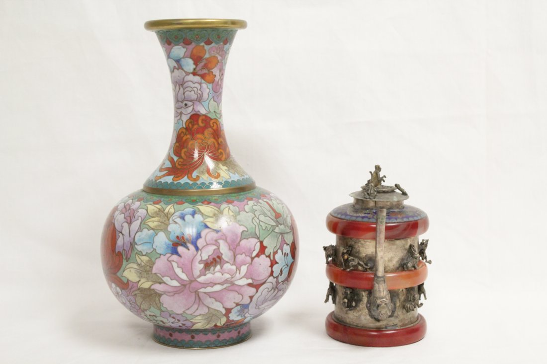 Cloisonne vase and a silver like wine server - 2
