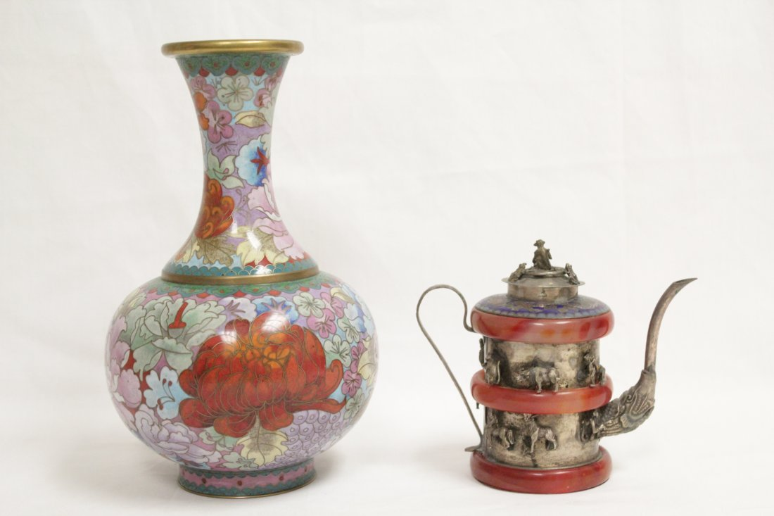 Cloisonne vase and a silver like wine server - 4
