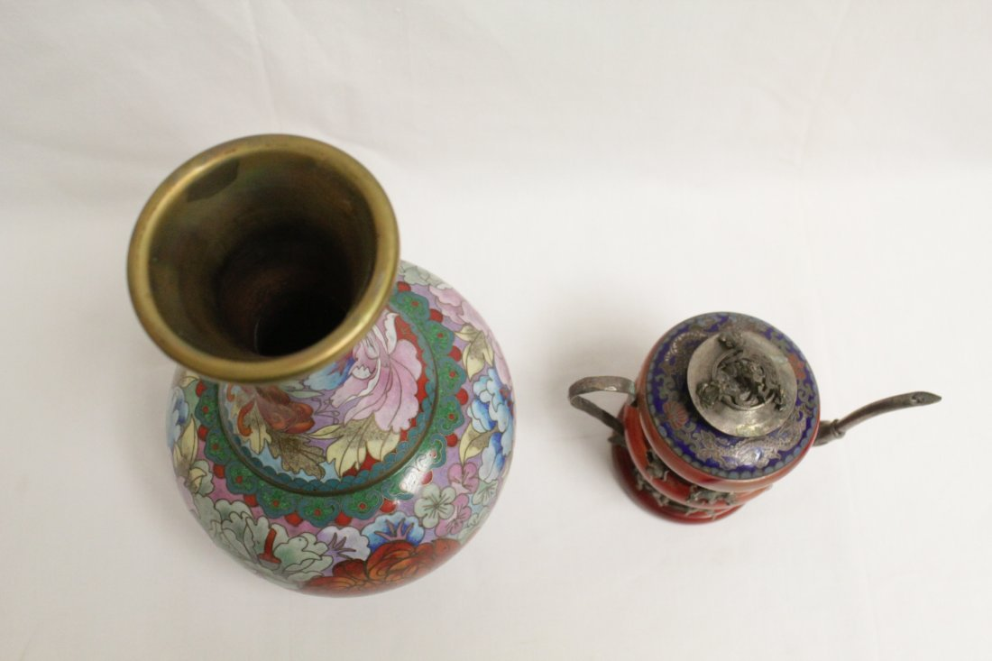 Cloisonne vase and a silver like wine server - 5