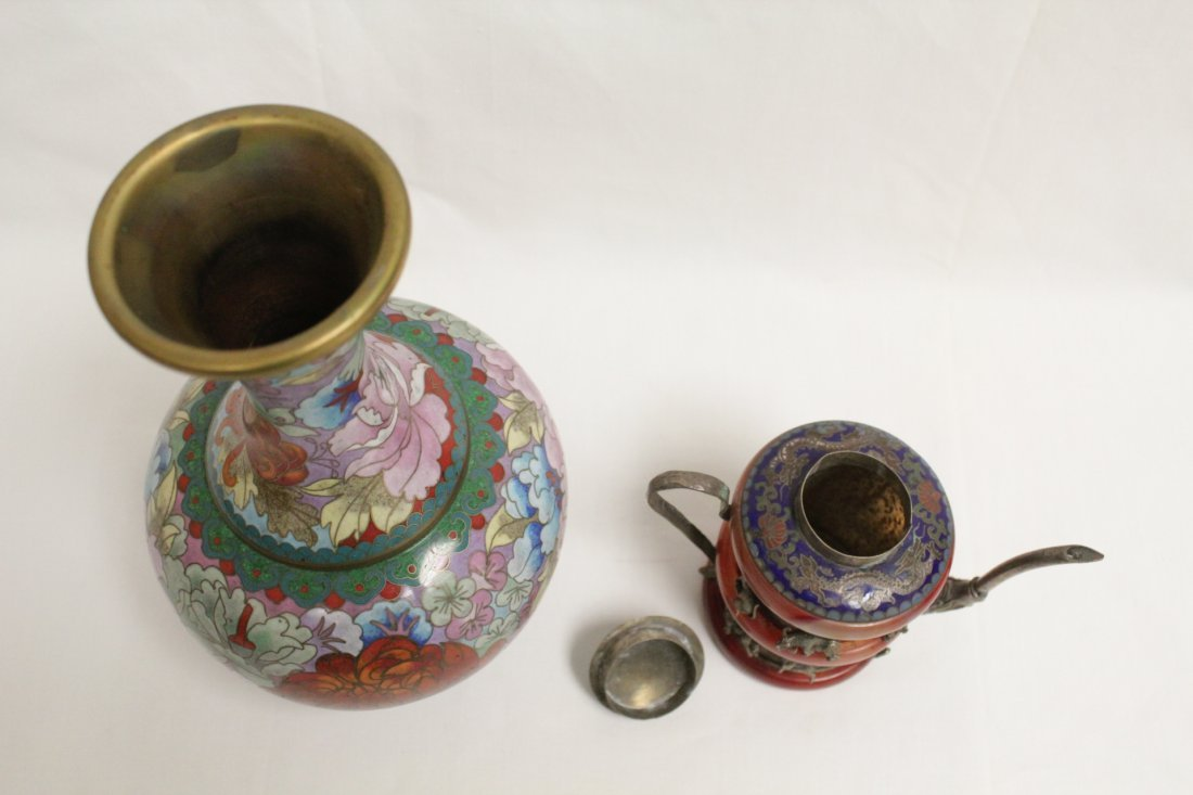 Cloisonne vase and a silver like wine server - 6