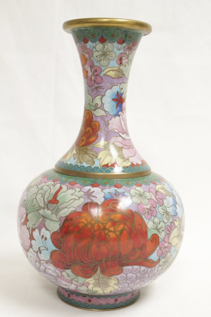 Cloisonne vase and a silver like wine server - 8