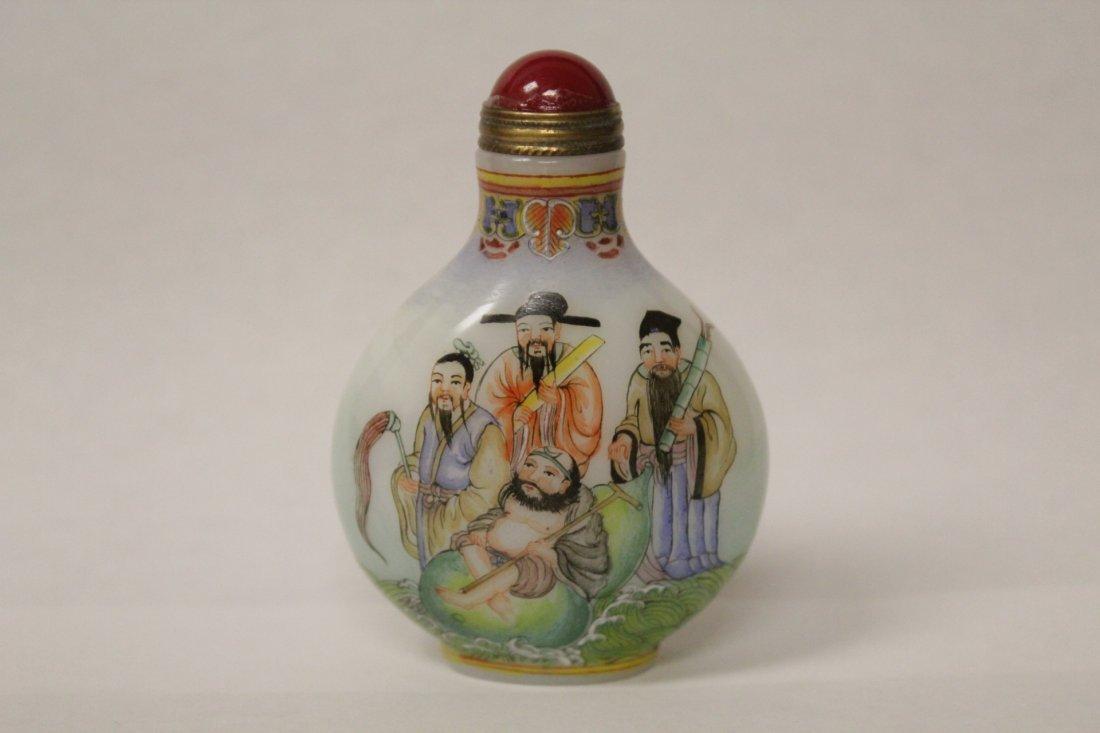 Chinese enamel on milk glass snuff bottle
