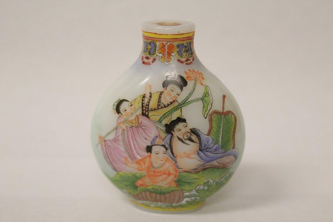 Chinese enamel on milk glass snuff bottle - 3