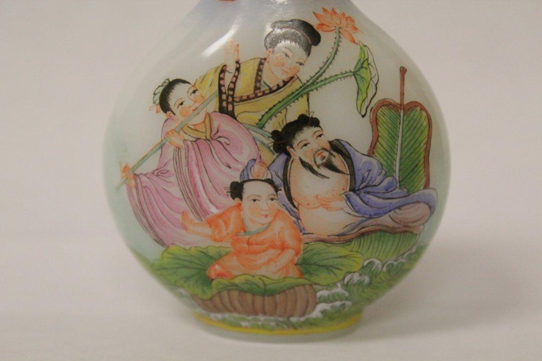 Chinese enamel on milk glass snuff bottle - 4